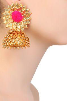 Aprajita Toor presents Pink and gold pom pom detail jhumki earrings available only at Pernia's Pop Up Shop. Silk Thread Earrings, Thread Bangles, Fabric Earrings, Flower Jewellery For Haldi, Flower Jewelry, Handmade Jewelry Designs, Handmade Jewellery, Gota Patti Jewellery, Salwar Kameez