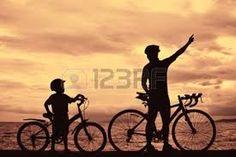 Znalezione obrazy dla zapytania tata z synem na rowerze