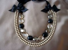 Crystal, Pearl, and Ribbon Necklace, $95.00 by RubyMines on Etsy