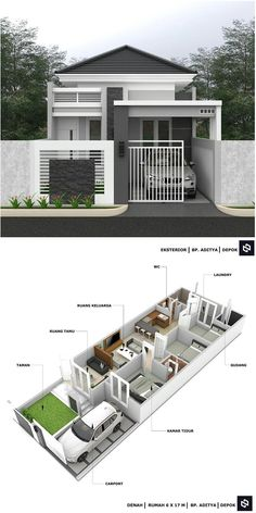 Small House Exteriors, Modern Small House Design, Modern Bungalow House, Modern Exterior House Designs, Modern House Plans, Layouts Casa, House Layouts, 2 Storey House Design, Bungalow House Design