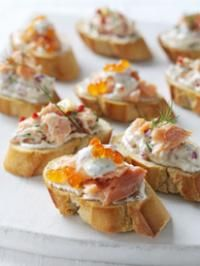 hot smoked salmon bruschetta with salmon creme fraiche and red onion ...