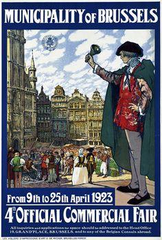 Vintage Belgium Brussels Travel Poster
