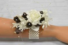 Ivory Pearl Stretchable Wrist Corsage Bracelet - Corsage and Boutonniere Supplies - Bridal Florals - Wedding Supplies- fall wedding corsage / fall wedding boutineers / fall wedding burgundy / wedding fall / wedding colors Flower Boquet, Wrist Flowers, Prom Flowers, Wedding Flowers, Wedding Colors, Bouquet, Wristlet Corsage, Wrist Corsage Bracelet, Wrist Corsage Wedding