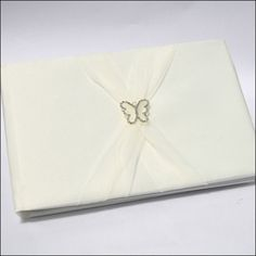 Ivory Butterfly Wedding Guestbook