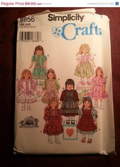 Uncut 1996 Simplicity Sewing pattern 9856 18 Doll by EarthToMarrs