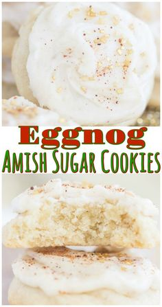 Buttery, melt-in-your-mouth sugar cookies, soft and puffy, madeover for Christmas with an eggnog theme! Amish Sugar Cookies, Eggnog Cookies, Sugar Cookies Recipe, Yummy Cookies, Baking Cookies, Amish Recipes, Baking Recipes, Cookie Recipes, Dessert Recipes