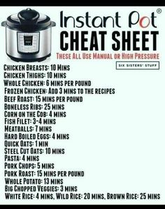 Good reference for Instant Pot cook times. Huge collection of delicious Instant Pot recipes, plus lots of tips and resources! Best Instant Pot Recipe, Instant Recipes, Instant Pot Dinner Recipes, Recipes Dinner, Instant Pot Pressure Cooker, Pressure Cooker Recipes, Pressure Cooking, Slow Cooker, Pressure Cooker Times