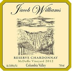 2012 Jacob Williams Winery Reserve Chardonnay oaked 750 mL *** You can find out more details at the link of the image.