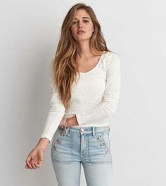 AEO Eyelet Ballet T-Shirt - Buy One Get One 50% Off