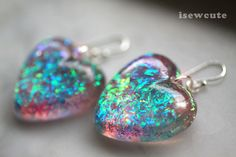Jewelry, Glitter Earrings - Dangle Style Hearts - Spring Ombre Pastel Sparkle, Sparkly Heart Earrings, Handmade Resin Jewlery by isewcute via Etsy