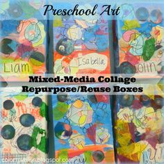 Color My Bliss: Preschool Art: Mixed Media Collage Repurpose/Reuse Boxes