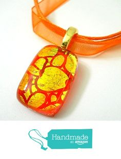 New Dichroic Gold Spots on Orange Glass Pendant Necklace with Gold Plated Bail and Orange Silk Cord from Glass Creations by Marcia https://www.amazon.com/dp/B01N2220O7/ref=hnd_sw_r_pi_dp_qVfEyb4KRSEYJ #handmadeatamazon