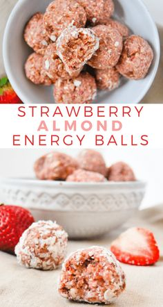 These strawberry almond energy balls are jam packed with healthy ingredients, and they only take 5 ingredients and 5 minutes to make. snacks No Bake Strawberry Almond Energy Balls Whole Food Desserts, Vegan Desserts, Whole Food Recipes, Dessert Recipes, Recipes Dinner, Cooking Recipes, Cooking Steak, Cooking Bacon, Indian Desserts