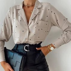 Which Top 1...5? 👉 Shop From @tuttofashionn ✈ FREE EXPRESS WORLDWIDE 📦 💫www.tuttofashion.net💫 #Regram via @CLaKNJ9hsOd Work Fashion, Fashion 2020, Work Chic, Polka Dot Shirt, Fall Shirts, Cheap Shirts, Blouses For Women, Shirt Style, Work Wear
