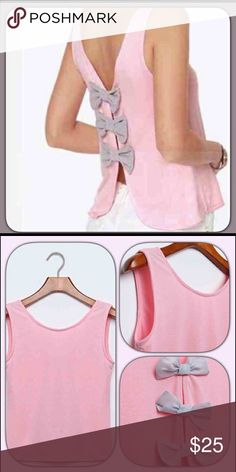 Pink Bow Top #420 Pink bow top. Featuring 3 grey bows on the back. Heramay Tops