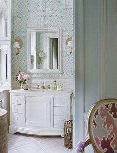 Lyford Trellis wallpaper from Quadrille - Beautiful bathroom by Tom Scheerer.