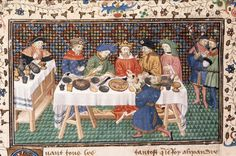 A king's feast, c. 1420. Jobas serving Alexander with poisoned wine. Historia de proelis, French trans. (Le Livre et le vraye hystoire du bon roy Alixandre), c. 1420 (Paris). BL MS Royal 20 B XX, fol. 88v. British Library, London