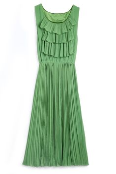 Green Sleeveless Cascading Ruffle Pleated Chiffon Dress - Sheinside.com