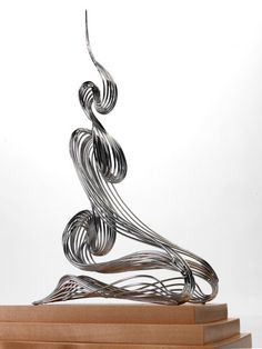 Stainless steel Stainless Steel Abstract Contemporary Modern sculpture by sculptor Martin Debenham titled: 'Seated Figure (stainless Steel abstract Contemporary statuette statue)'