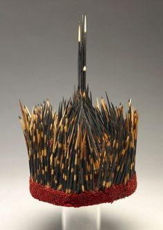 Africa | Man's hat from Cameroon | Wool, porcupine quills | 20th century