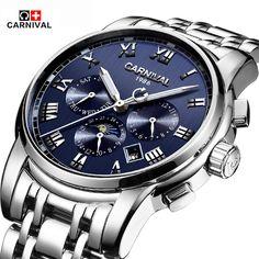 Original Brand Carnival Men's Watch Automatic Mechanical Watches Waterproff Business Wristwatch Clocks Male relogio masculino