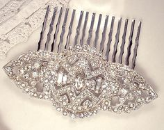 Art Deco Hair Comb OR Brooch, Original 1920 Vintage Clear Pave Rhinestone Wedding Sash Pin or Bridal Head Piece Antique Gatsby Downton Abbey