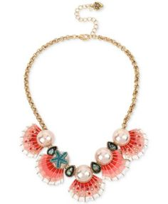 Betsey Johnson Gold-Tone Imitation Pearl and Seashell Statement Necklace