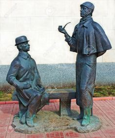 Monument to heroes of book by Arthur Conan Doyle Sherlock Holmes and doctor Watson near British Embassy in Moscow, built in 1997, sculptor Andrey Orlov.
