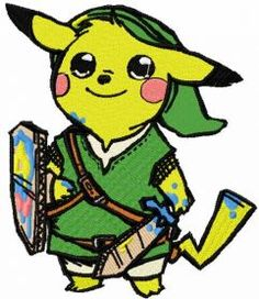 Pikachu warrior embroidery design. Machine embroidery design. www.embroideres.com