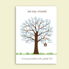 Great gift for a wedding, baby shower, or kids birthday.  Everybody adds their fingerprint and name on the tree.  Baby Shower Printable Thumbprint Tree Guest Book Poster, Nursery Wall Art,  Custom Text, Color and Language available. €14.00, via Etsy.
