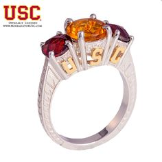 #USC #Ring #Trojan #14kt #Gold USC Sterling Silver #Genuine #Stone #Officialy Lisenced Products.#SC #Trojans #FightON #University by Mdelaluzjewelry