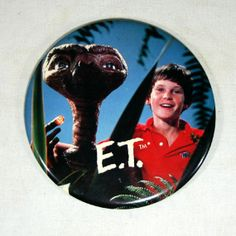 """This 6"""" E.T. & Elliott button would make a great clock. 6"""" buttons are the perfect size for clocks. #clockbutton #bigbutton #etbutton"""