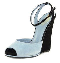 Gucci Shoes Wedge Peep Toe Ankle Strap Blue and Black Suede Leather IT 39  US 8 * For more information, visit image link.