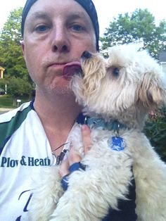 "Plow & Hearth Photoshop Specialist Joe D. says there's nothing like an ""after bike-ride wash"" from his maltipoo, Tuzik."