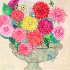 Andrea Letterie, Dahlia's en mezen, Gemengde techniek op paneel, 80x80 cm, €.1500,-