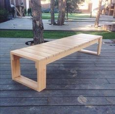 Pool Bench Plan/Wood bench plan/landscape bench plan/garden bench plan/patio bench plan/porch bench plan/deck bench plan/outdoor bench plan - I like woodworking :) Wood Bench Plans, Garden Bench Plans, 2x4 Bench, Diy Garden Benches, Build A Bench, Deck Storage Bench, Pallet Patio Decks, Wood Decks, Table Bench