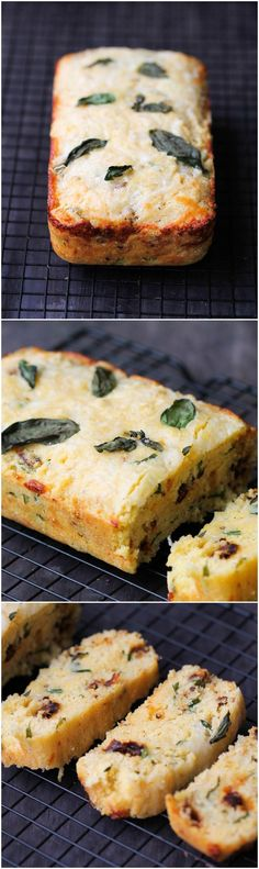 Corn Bread with Sun-Dried Tomatoes, Basil, and Cheese delicious, fluffy, and easy recipe that everyone will enjoy as a side, with chili, or by itself! Basil Recipes, Cheese Recipes, Bread Recipes, Cooking Recipes, Cheese Food, Cooking Tips, Pork Recipes, Fingers Food, Dried Tomatoes
