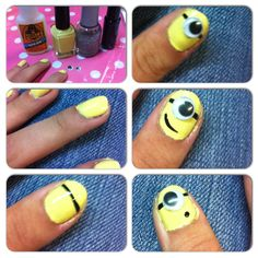 Despicable me minion nail art. Step by step  www.ThePolishObsessed.com for more nail art ideas.