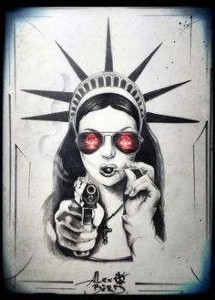 statue of liberty tattoo chicano ~ statue of liberty tattoo chicano Statue Of Liberty Tattoo, Marilyn Monroe Artwork, Gangster, Chicano Art, Illustrations, Tattoo Sketches, Black And Grey Tattoos, New Tattoos, Tatoos