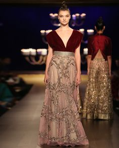 Embroidered Champagne Pink Gown with Maroon Bodice by Manish Malhotra | India Couture Week - 2014