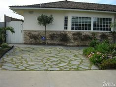Flagstone Driveway with grass