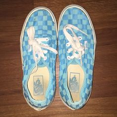 Blue Checkered Vans Worn but in good condition Vans Shoes Sneakers