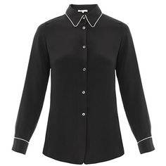Designer Clothes, Shoes & Bags for Women Collar Top, Collar Blouse, Dedicated Follower Of Fashion, Silk Pajamas, Loose Fitting Tops, Pajama Top, Silk Crepe, Black And Navy, Black Blouse