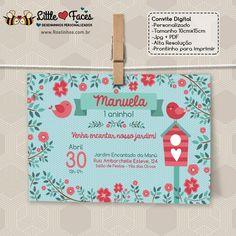 $35.00 Convite Festa Passarinhos para imprimir 35, Invitation Templates, Daughter Of God, Creative Products, Digital Invitations, Invitation Birthday