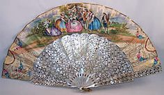 1850s Mother of Pearl and Paper Fan