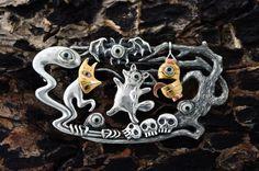 2010・Brooch .  Silver . Gold . Copper .  Black Coral . Hippopotamus's Tooth   'O-DA-I Craft' 第三回テーマ「妖怪」 //odaicraft.blogspot.com/