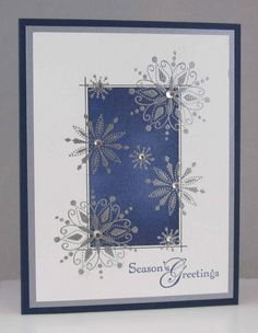 hnadmade Christmas card ... embossed snowflakes ... like this design ... Stampin' Up!