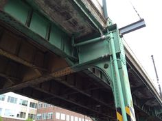 """Not the elevated Rte. 93, this is by Lechmere in Cambridge, but has that same vibe as the """"EL"""" - and the way it's captured - conveys the weight of the structure a little off kilter, like it's going to fall down. I like the original green paint they used to cover these metal monsters with. All in all...not warm & fuzzy (definitely desolate)."""