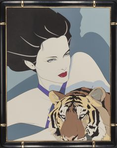 PATRICK NAGEL (American, 1945-1984) Woman with Tiger Acrylic on board 31.5 x 24.25 in.