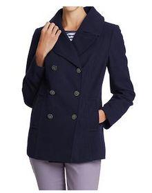 Womens Navy Wool Pea Coat - Coat Nj